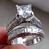 WensLTD 2-in-1 Womens Vintage White Diamond Silver Engagement Wedding Band Ring Set (#7, Silver) (Color: Silver, Tamaño: #7)