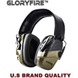 GLORYFIRE Electronic Shooting Earmuff Sound Amplification 6 Times Electric Earmuffs Perfect for Hunting and Shooting (Olive Green) (Color: Olive Green)