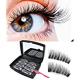 Magnetic Eyelashes Fake Lashes Natural Look 3 Magnets Full Eye False Eyelashes Reusable No Glue Soft and Comfortable Pack of 8 (Color: Magnetic Eyelashes)