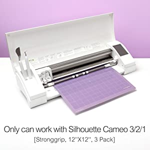 Funnygame Cutting Mat 12x12 for Silhouette Cameo 3/2/1(Stronggrip, 3 Pack), Adhesive Cutting Mat with Non-Slip Flexible Square Gridded Purple Cut Mat Perfect for Cameo (Color: Purple for Silhouette)