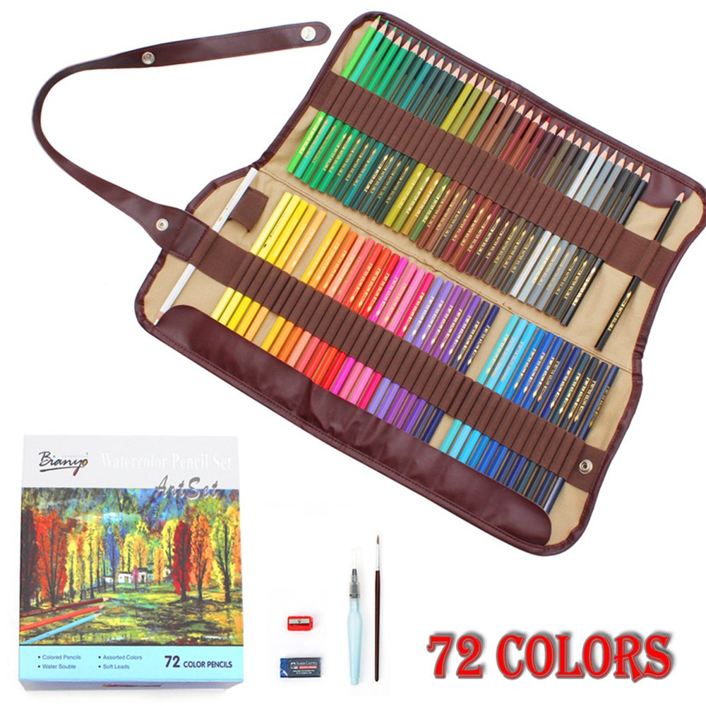bianyo 72 water color water soluble pencil set with pencil