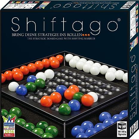 WiWa Spiele 790023 - SHIFTAGO - Mets ta stratégie en marche… (jeu jeux de société jeux de plateaux jeu de table jeu de stratégie pour 2 à 4 joueurs avec 88 billes en verre de haute qualité (Ø 22 mm))