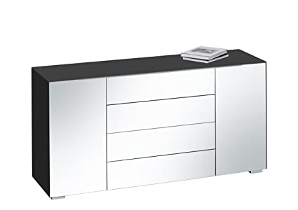 MAJA Möbel 7216 4501 Kommode, schwarzglas matt / grauspiegel, Abmessungen 159 x 79,40 x 46,20 cm