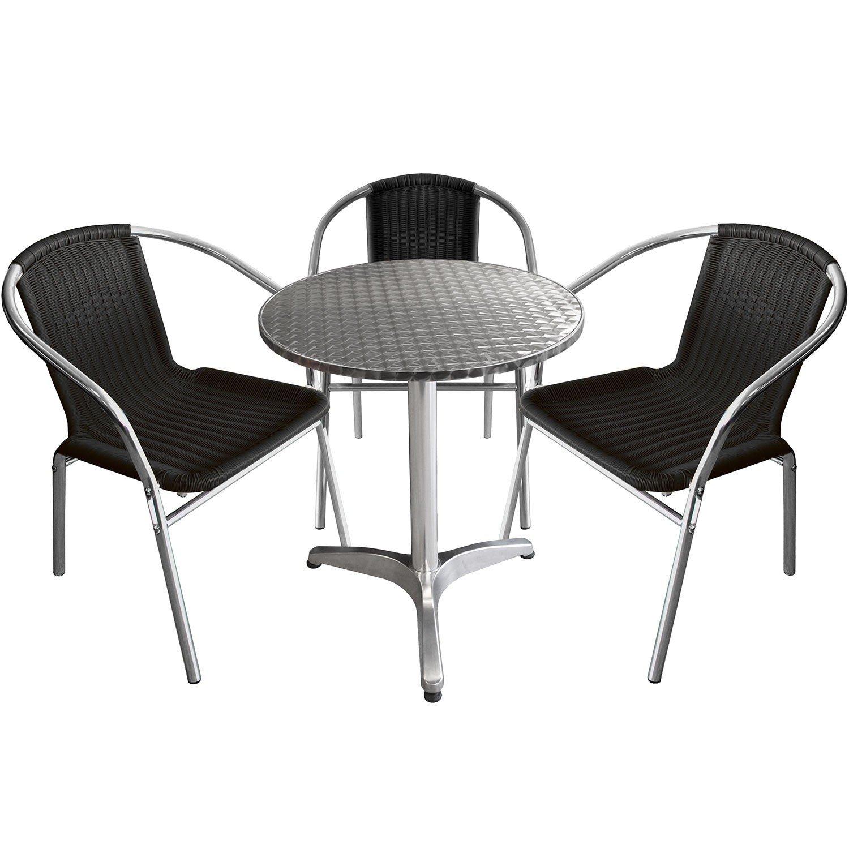 4-teilige Bistrogarnitur Sitzgarnitur Sitzgruppe Aluminium Bistrotisch Ø60cm + Aluminium Bistrostühle Polyrattan - Silber / Schwarz