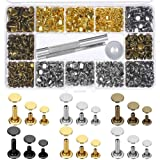 Paxcoo 480 Sets 3 Sizes Leather Rivets Double Cap Rivet Tubular Metal Studs with 3 Pieces Setting Tool Kit for Leather Craft Repairs Decoration, 4 Colors (Color: gold, gunmetal, bronze and silver)