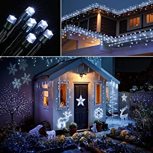 Joomer Solar String Lights 72ft 200 LED 8 Modes Solar Powered Christmas Lights Waterproof Decorative Fairy String Lights for Garden, Patio, Home, Wedding, Party, Christmas (White) (Color: White, Tamaño: 1 Pack)