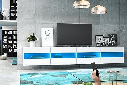 Brico Double - Mobiletto Porta TV Sospeso / Supporto TV Sospeso a Parete (200 cm, Bianco Opaco / Pannelli Frontali Bianco Lucido con luci LED blu)