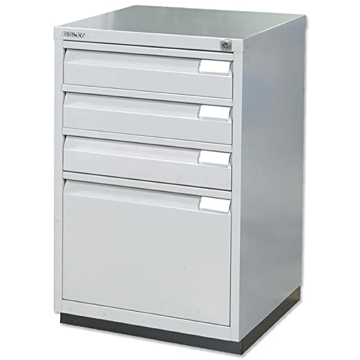 Bisley Multidrawer Cabinet 1 Filing and 3 Stationery Drawers W470xD470xH711mm Goose Grey Ref IF3