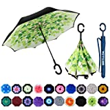MRTLLOA Double Layer Inverted Umbrella with C-Shaped Handle, Anti-UV Waterproof Windproof Straight Umbrella for Car Rain Outdoor Use (Color: N-Green Leaf, Tamaño: X-large)