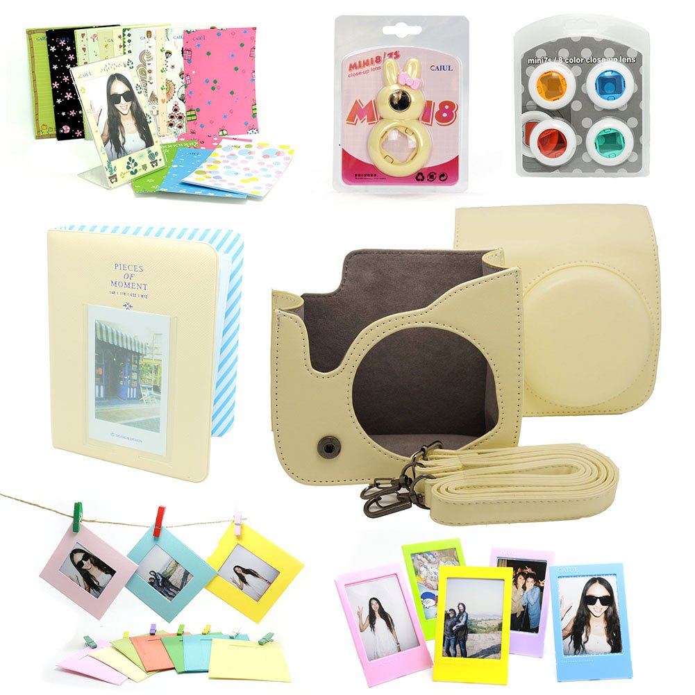 7 in 1 instax Mini 8 Instant Film Camera Accessories Bundles (Yellow Instax Mini 8 Case/ Mini Album/ Close-Up Selfie Lens/ 4 colors Close-Up Lens/ Wall Hang Frames/3 inch Film Frame/ Film Stickers)