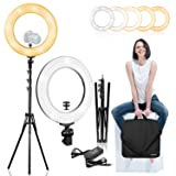 LimoStudio 14 inch Diameter Dimmable Continuous Round LED Ring Light, Beauty Facial Shoot, Smartphone, Youtube, Vine Self-Portrait, Light Stand Tripod, Camera Mount Adapter, Photo Studio, AGG2203 (Color: White 5600K, Tamaño: VAGG2203)