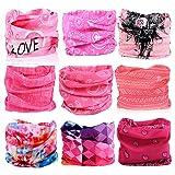 KALILY 9PCS Headband Bandana - Versatile Sports & Casual Headwear -Multifunctional Seamless Neck Gaiter, Headwrap, Balaclava, Helmet Liner, Face Mask for Camping, Running, Cycling, Fishing etc (Color: Pink Pack 9PCS, Tamaño: Medium)