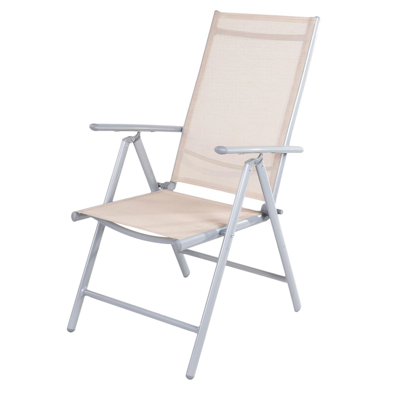 4x Klappsessel Gartenstuhl Klappstuhl 7-fach verstellbar Aluminium Gartenmöbel , Farbe:beige online bestellen