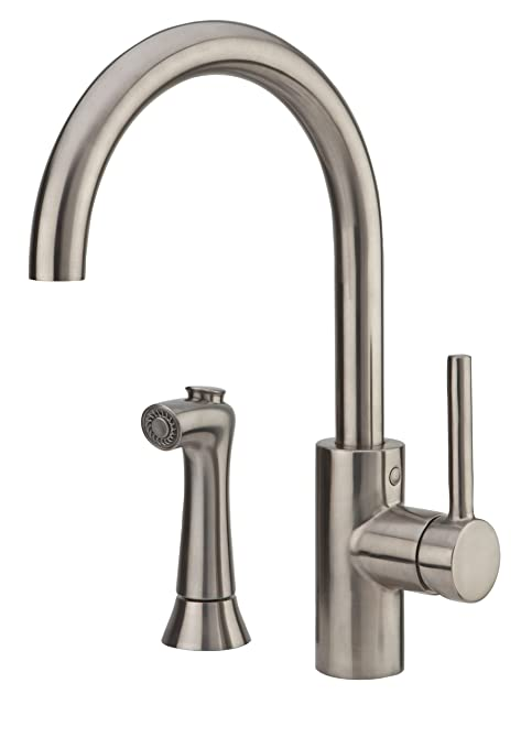 Pfister F-029-4SLS Solo 1-Handle Kitchen Faucet with Side Spray, Stainless Steel, 2.2 gpm