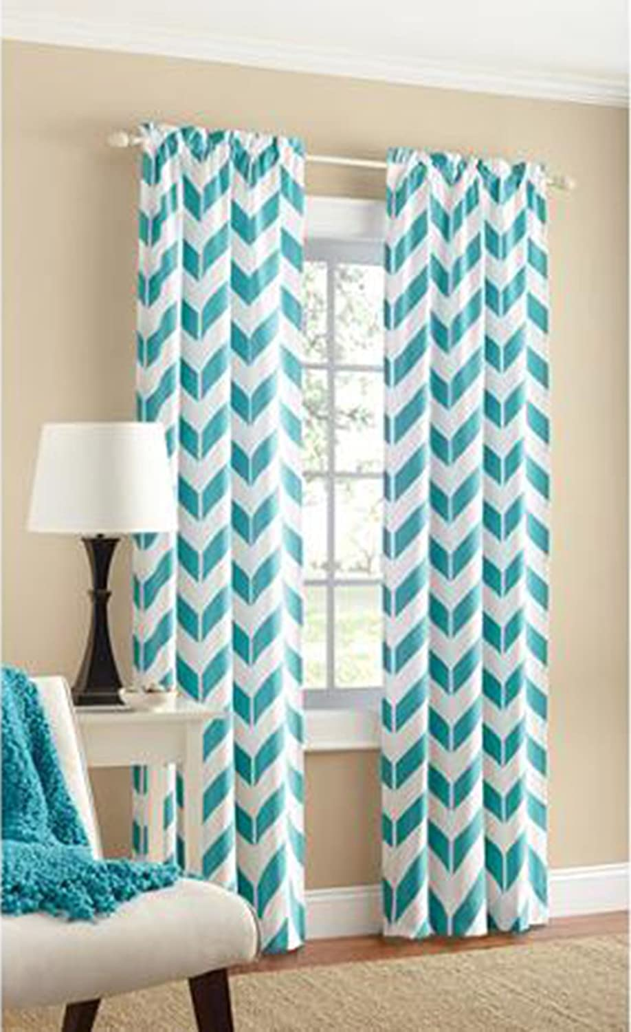 Yellow chevron kitchen curtains - Mainstay Yellow Chevron Curtains Teal Chevron Panel Pair Two Panels 84 By Mainstay Amazon In