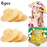 Straw Hat, Coxeer 6PCS Straw Hat Cap Beach Sun Hat Creative Art Painting Straw Hat for Kids Adults Birthday Party Hats Childrens DIY Straw Summer Hats (Color: Straw Hat)