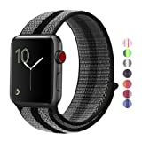 Winmy For Apple Watch Band Sport Loop Bands 42mm, Lightweight Breathable Nylon Replacement Band Strap for Apple Watch Nike+, Series 1, Series 2, Series 3, Sport, Edition - Black Stripe (Color: NEW Black Grey Stripe, Tamaño: 42mm Watch)