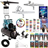Powerful Master Airbrush Gravity and Siphon Feed Airbrushing System with 3 Airbrushes, 6 U.S. Art Supply Primary Colors Acrylic Paint Set - Cool Running 1/4 hp Twin-Piston Air Compressor, Storage Tank (Tamaño: Deluxe Compressor with Air Tank)