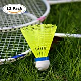 12-Pack ZN Advanced Nylon Feather Shuttlecocks,77 Grains-High Speed Badminton Balls (Yellow,Nylon) with Great Stability and Durability,Indoor Outdoor Sports Hight Speed Training Badminton Shuttlecocks