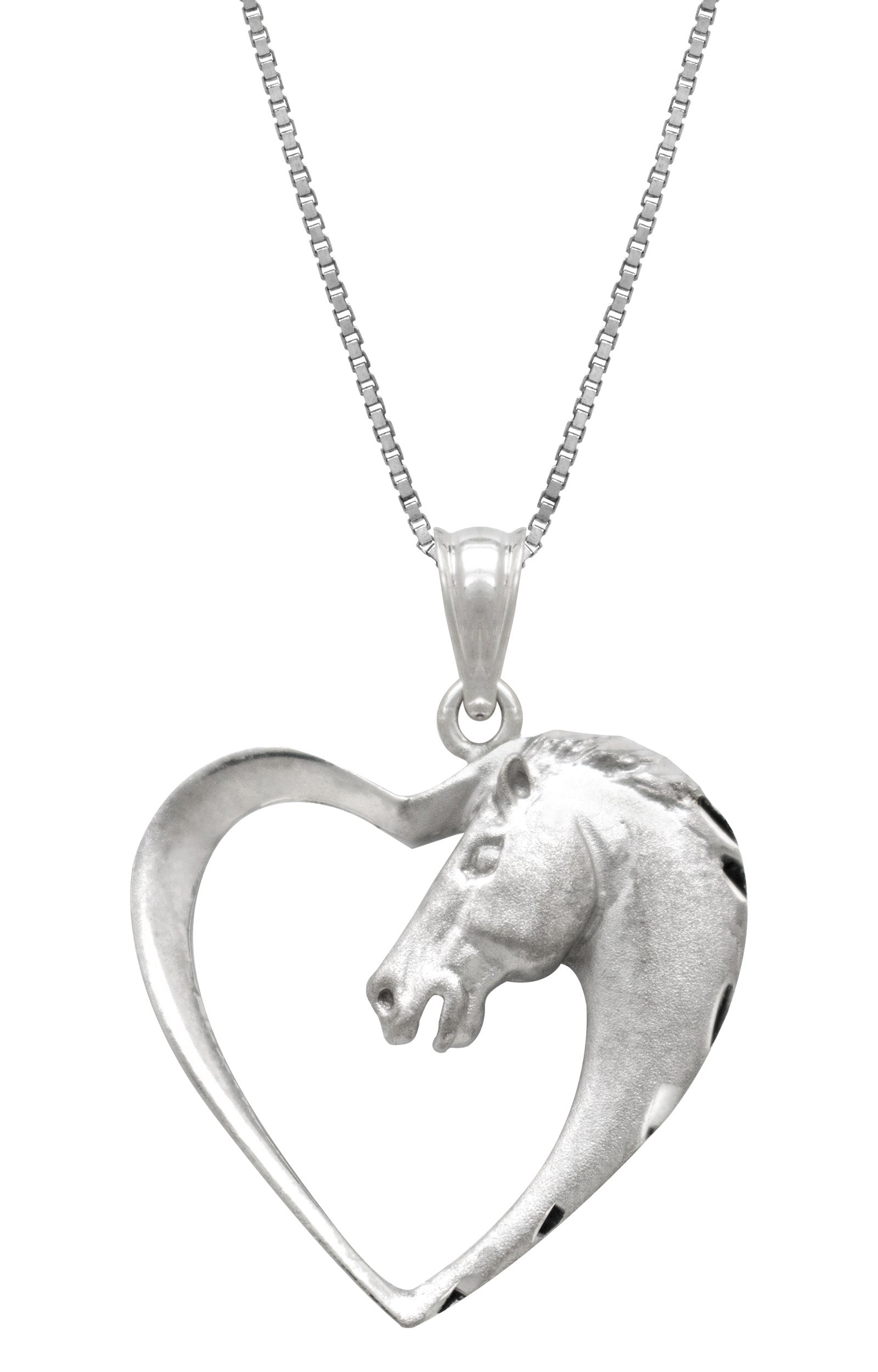 Sterling Silver Horse in Heart Necklace Pendant with 18 Box Chain