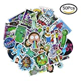 50 Pieces Vinyl Personalize Laptop Stickers, Rick and Morty Stickers for Motorcycle, Bicycle, Skateboard, Luggage Decal Car Sticker Pack (Section-P) (Color: Section-P)