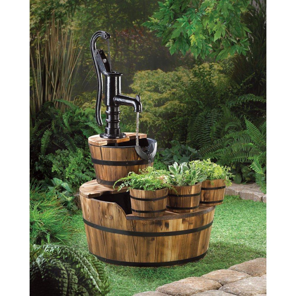 Home Garden Outdoor Yard Wood Water Pump Barrel Fountain