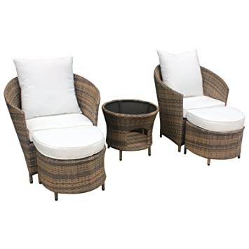 Gartenmöbel Polyrattan Lounge Sitzgruppe Garnitur 2 Sessel mit Hocker,1 x Tisch (Kaffee/Weiß)