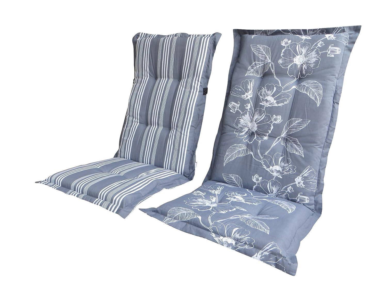 """8 cm Luxus Hochlehner Wendeauflage """"Lilian Grey"""", grau mit Nadelstreifen, Rückseite geblümt günstig bestellen"""