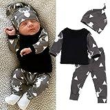 FEITONG Newborn Toddler Baby Boy Girl Deer Tops T-shirt+Pants Leggings 3pcs Outfits Set (18 Months, Black)