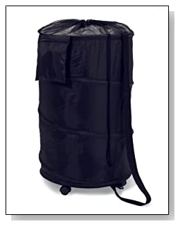 Black Deluxe Nylon Pop Up Clothing Hamper on Wheels