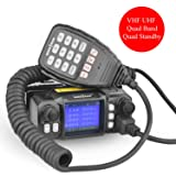 Mobile Ham Radio Amateur Radio Vehicle Transceiver Quad-Standby Quad Band UHF 400~480 MHz(350~390 MHz) VHF 136~174 MHz(220~260 MHz) Mini Color Screen 25W/20W with Long Range Black (Color: black, Tamaño: small)