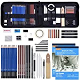 Drawing Pencils Set,52 Pack Professional Sketch Pencil Set in Zipper Carry Case,Art Supplies Drawing Set with Graphite Charcoal Sticks Tool Sketch Book for Adults Kids Drawing Sketching by Shuttle Art (Color: 52 Pack Drawing Pencils set)