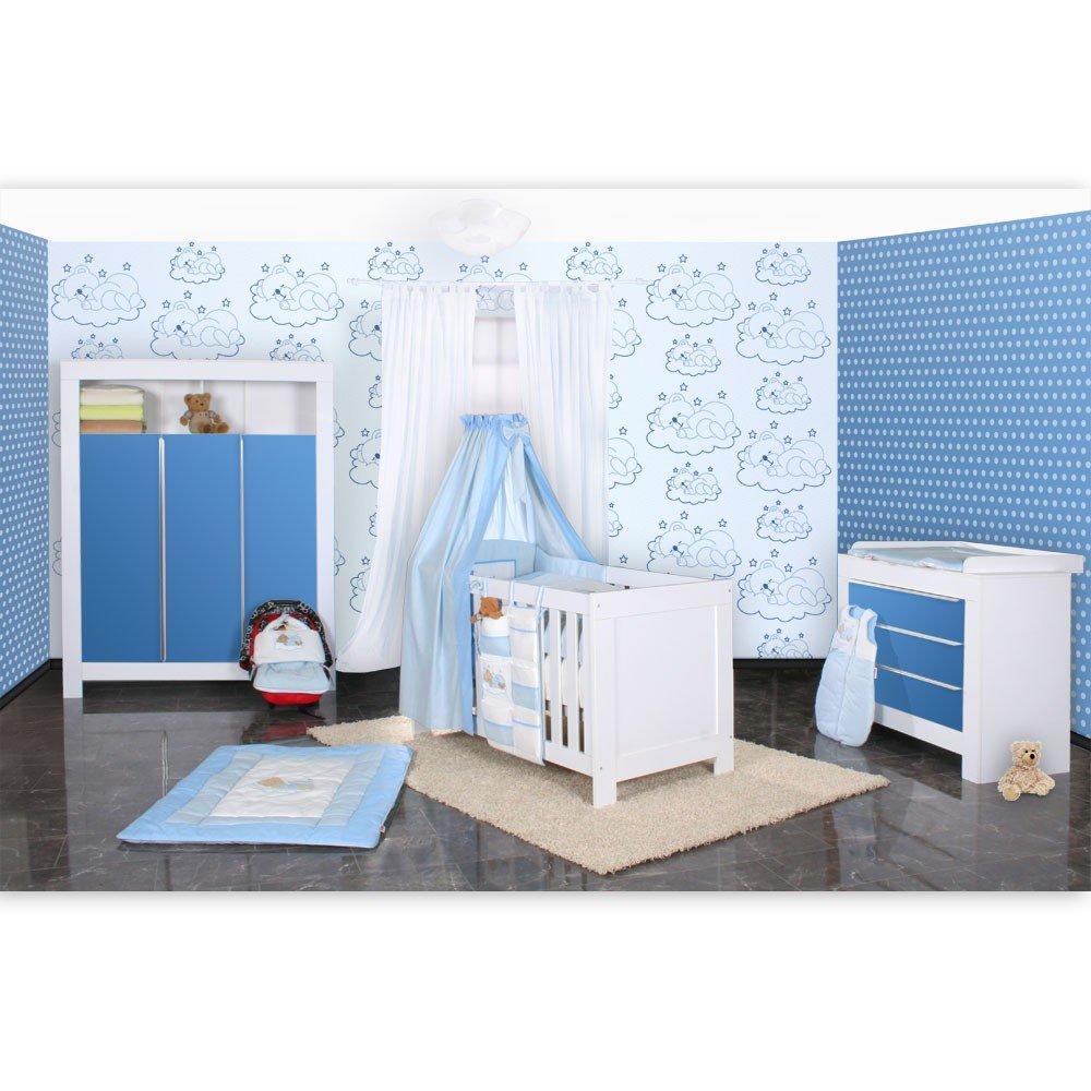 Babyzimmer Felix in weiss/blau mit 3 türigem Kl 19 tlg. + Sleeping Bear, blau