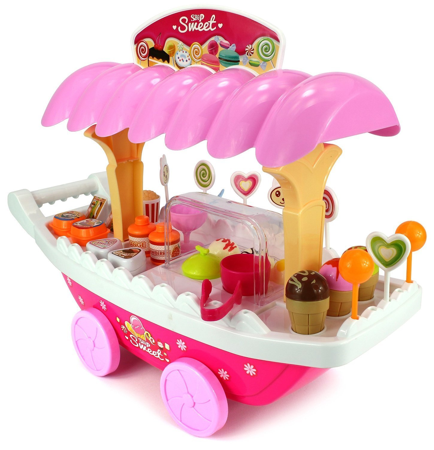 sunshine ice cream kitchen play cart kitchen set toy with lights and
