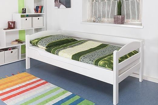 "Massivholzbett ""Easy Sleep"" K1/n/s, Buche Vollholz massiv weiß lackiert - Maße: 90 x 200 cm"