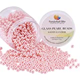 PandaHall Elite About 1000 Pcs 4mm Pink Tiny Satin Luster Glass Pearl Bead Round Loose Spacer Beads for Jewelry Making (Color: Cameo Pink-1000 Pcs, Tamaño: 4~4.5mm)