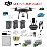 DJI Phantom 4 PRO Obsidian Black Quadcopter Drone with 1-inch 20MP 4K Camera KIT, 3 Total Batteries, 2 64GB Micro SD Cards, Reader, Snap on Prop Guards, Range Extender, Charging Hub, Remote Harness (Color: 3 Battery Bundle, Tamaño: Phantom 4 PRO)