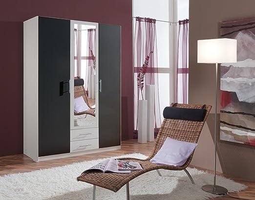Dreams4Home Drehturenschrank 'Bella', Schlafzimmer, Schrank, weiß, anthrazit, schwarz, Kleiderschrank, 1 Spiegel, Spiegelschrank