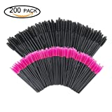 GoWorth 200 PCS Disposable Eyelash Mascara Brushes Makeup Brush Wands Applicator Makeup Kits(Rose Red & Black)