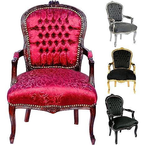 Barock Stuhl Mahagoni Holz Wohnzimmerstuhl Antik-Stil Sessel rot