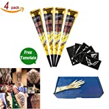 India Henna Tattoo Kit Temporary Tattoo Paste Cones Body Art Painting Drawing With 6 pcs Free Henna Stencil Set Black Color(4Pcs)