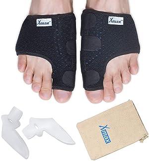 Orthopedic Bunion Splint Corrector Relief - Neoprene Straightener Hallux Valgus Hammer Toe for Men Women Black (Color: Black)