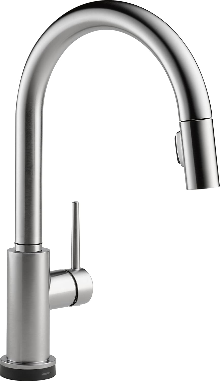 Delta Faucet 9159T-AR-DST Trinsic Single Handle Pull-Down Kitchen Faucet Featuring Touch2O Technology, Arctic Stainless