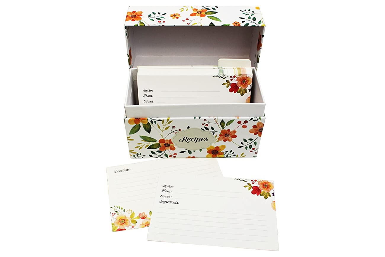 Vintage-Look Recipe Box Set With 50 Recipe Cards & 10 Blank Dividers | Holds Up To 200, 4x6 Cards | From Splendid Chef 2