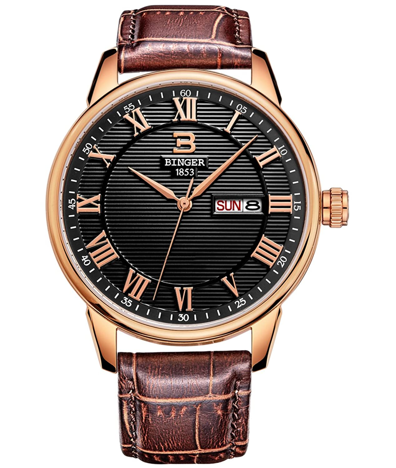 BINGER Mens Day Date Dress Watch Black With Roman Numeral Rose Gold Tone And Brown Leather Strap 37M-1B