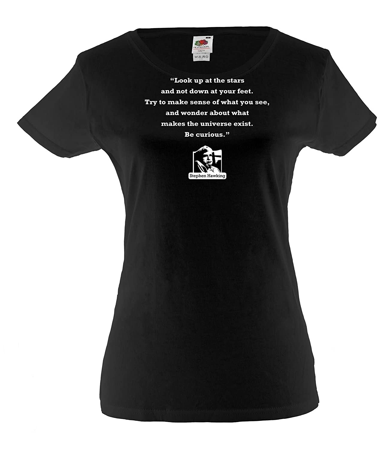 New Ladies colors short sleeve cotton tshirt Stephen Hawking Quote: Look up велотренажер spirit fitness xbr25 2017