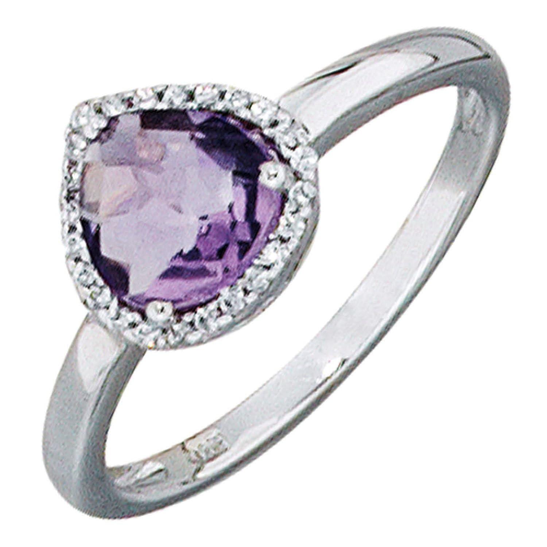 Damen-Ring 585 Weißgold 24 Diamanten 1 Amethyst online bestellen