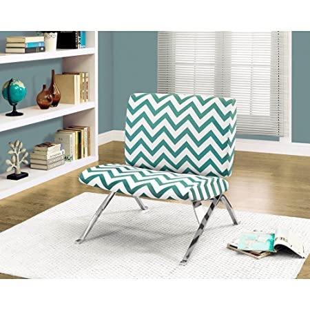 "TEAL "" CHEVRON "" FABRIC / CHROME METAL ACCENT CHAIR (SIZE: 28L X 30W X 31H)"