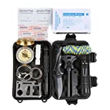HCF Emergency Survival Kit,13 professional emergency rescue devicewith, Wilderness,Trip,Cars, Hiking,Camping gear,Wire Saw, Emergency Blanket, Flashlight, Tactical Pen, Water Bottle Clip,compass
