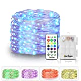Homestarry Fairy String Multicolor Changing Twinkle Lights with Remote, 16.4 ft 50 LED's,Battery Powered, Indoor Decorative Silver Wire Bedroom,Patio,Outdoor Garden,Stroller (Color: Multicolor (Option), Tamaño: 16.4 ft 50 LED's Battery Powered)